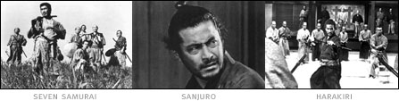 picture: scenes from 'Seven Samurai', 'Sanjuro' and 'Harakiri'
