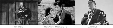 picture: scenes from 'Yojimbo', 'Musashi Miyamoto' and 'Zatoichi'